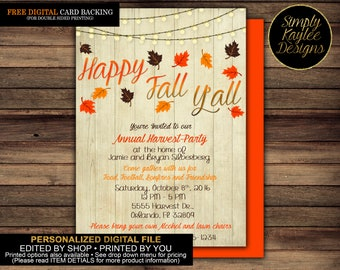 Happy Fall Y'all Thanksgiving Party Invitation