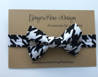 Houndstooth Bow Tie; Black and White Bow Tie; Baby Bow Tie; Toddler Bow Tie; Boy Bow Tie; Adjustable Bow Tie