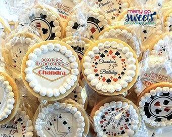 Vegas Casino Cookies / Edible Print / Edible Blackjack Favors / Casino Party / Casino Cookies / Sugar Cookies / Vegas Party / Vegas Cookies