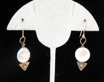 """Single 1.5"""" White Coin Pearl Pierced Earrings"""