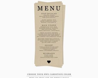 Printable Wedding Menu Template, DIY Wedding Printable Template, Rustic Wedding Printable Menu, Woodland Wedding, Farmhouse Wedding