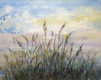 Sea Oats, Archival Print, watercolor seascape, beach art, beach painting, watercolor art, landscape painting, seashore art, beach grass art