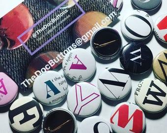 Alphabet Buttons L-V