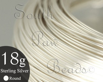 1/2 troy oz Round Sterling Silver Wire 18 gauge dead soft, approximately 6.5 feet