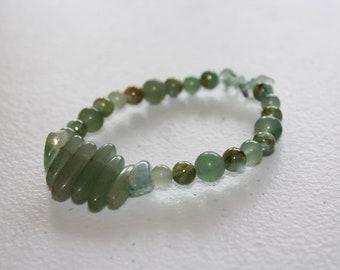 Green Fluorite, Jade, and River Shell Bracelet