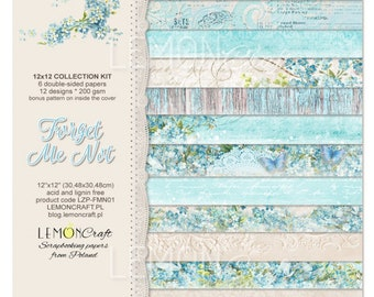 12x12 Scrapbook Paper / LemonCraft Paper Collection /  Forget Me Not / 6 Sheets / Pattern Paper / Scrapbook Kit / Mixed Media / Shabby Chic
