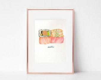 Sushi Print - Sushi Art Print - Sushi Roll Print - Watercolor Sushi - Sushi Wall Art - Sushi Decor - Asian Food Print - Sushi Lover Gift