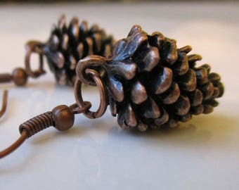Antiqued Copper Pinecone Earrings