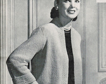 Women's Cropped Jacket with Ripple Back Knitting Pattern PDF / Vintage Women's sweater pattern / Mad Men / Classic 1950's knitted jacket