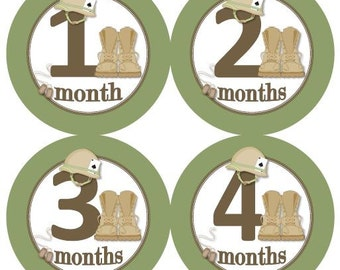 Baby Monthly Milestone Growth Stickers Army Marines Military Nursery Theme Green Tan Brown MS893 Baby Shower Gift Baby Photo Prop