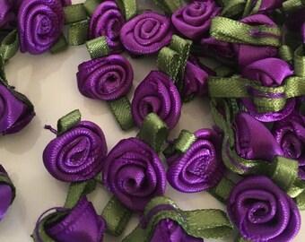 20, purple ribbon roses, satin ribbon roses, purple satin roses, sew on flowers, small ribbon roses, purple ribbon flowers, flower appliques