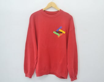 Benetton Sweater Vintage 90's Benetton Color Sweatshirt Pullover Made in usa Size L