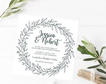 Woodland Wedding Invitation PDF, Wreath Wedding Invitations, Modern Rustic Wedding Invite, Laurel Wedding Invitation, Leaves Wedding Invite