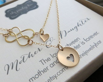 Bridal shower gift, mother daughter necklace, heart cutout, infinity necklace, gift for daughter from parents, wedding