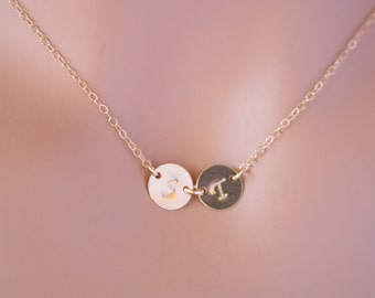 Sideways Initial Disks Necklace - GOLD FILLED. You can make your choice number of Disk you want, engraved  necklace, Family Initials