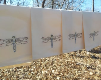 4 Dragonfly Cloth Napkins-Hand Embroidered