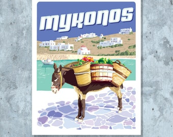 Mykonos Travel Poster