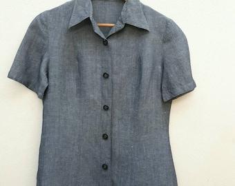 80s Burberrys Women's Linen blouse Size 40 L