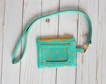 ID Wallet, ID Lanyard, Teacher gift, Teal ID wallet, Lady Bug Wallet, Small Wallet, Student lanyard, Mother's Day Gift,