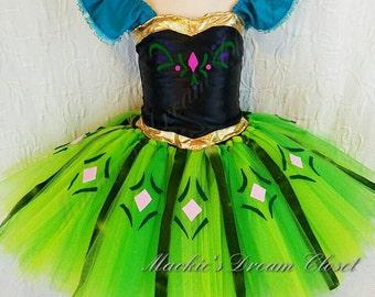 Coronation Day Princess Anna Tutu Dress Costume Gown Satin Black Fabric Green Tulle Gold Trims Applique