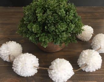 Mini White Pom Pom Garland, Nursery Decor, Home Decoration, Photo Backdrop