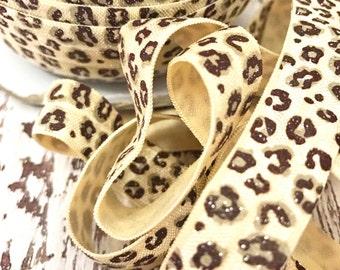 "5/8"" Sparkle Cheetah FOE // Fold Over Elastic // 5 Yards - Elastic by the yard"