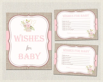 Wishes for Baby Floral Baby Shower Activities | Burlap Shabby Chic  | Baby Wish Cards |  Girl Baby Shower BS-159