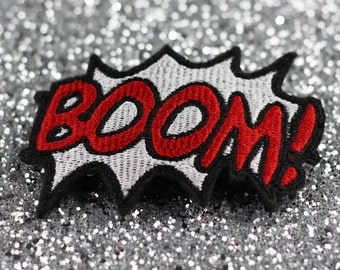 BOOM Hair Clip, Comic Book Hair Barrette, White and Red
