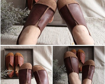 Brown Handmade Shoes,Oxford Women Shoes, Flat Shoes, Retro Leather Shoes, Casual Shoes