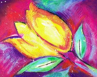Vibrant Tulip, Acrylic, Mixed Media, Painting, Art Print