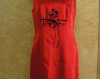 Vintage 1990s 90s BCBG Maxazaria Medium red dress fully lined sleeveless shiny short 8 SALE