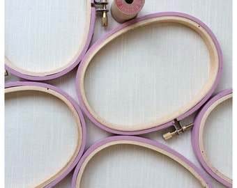 Mini oval wooden embroidery hoop frames. 3x5 inch. hand painted