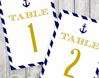 Nautical Table Numbers - Printable