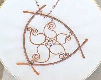 Artisan Paisley Flower Copper Pendant