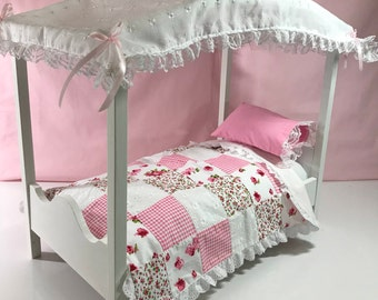 American Doll Canopy Bed. Patches In Pink