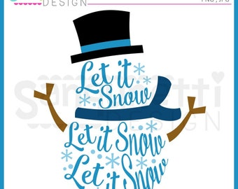 Snowman clipart, snow clipart, let it snow, lettering cliaprt, Christmas Clipart, Winter clipart, Instant download
