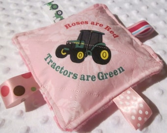 Baby Girl Crinkle toys, Valentines Day,  John Deere inspired licensed print, Roses are Red, New, Made in USA, Babies love them, fun sounds