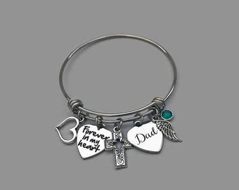 Forever In My Heart Bracelet, Dad Memorial Bracelet, Father Memorial Bracelet, Loss Of Dad, Remembrance Charm Bracelet, Stainless Steel