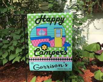 Happy Campers Garden Flag Campsite Personallized Flag RV Retro Camper Camp Campground Sign