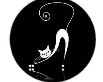 25mm cabochon white cat on black