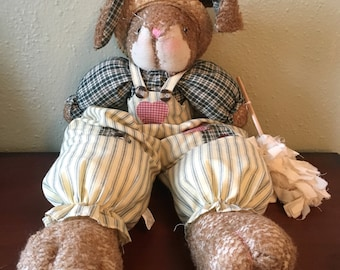Adorable Vintage Stuffed Country Bunny in Overalls