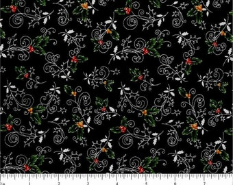 Christmas Visions from Choice Fabrics - Full or Half Yard Holly on Black