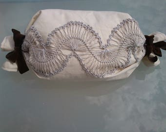 Cushion cover white with lace on the fork, Valentines Day gift idea