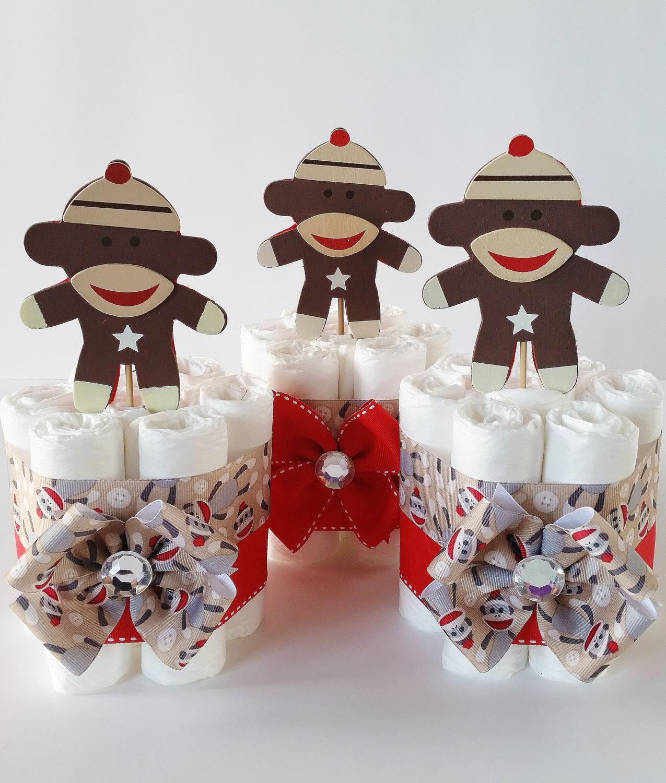 Sock Monkey Mini Diaper Cakes Sock Monkey Baby Shower Decor
