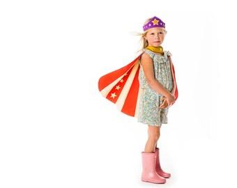 Super Girl Costume, Princess Tiara Costume, Purple Tiara and Super Hero Cape, Wonder Woman , Birthday Gift Girl - Kids Costume Play - Play