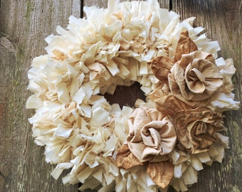 """Rustic Rag Wreath, Hygge Winter Rose Wedding Wreath with muslin ribbon roses on a small 12"""" wreath, natural & tea dyed muslin fabric roses"""