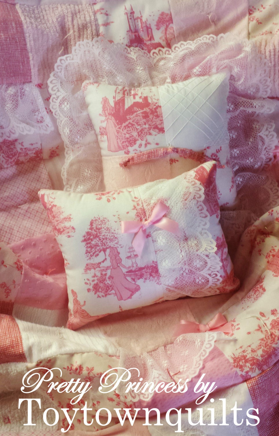 Disney Princess Fabric Vintage Chenille Pink Toile Baby Girl