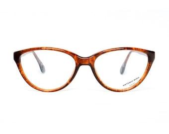 brown vintage cateye eyeglasses - tortoise shell cateye glasses frames - 1980s designer eye glasses Antonio Miro Tortuga