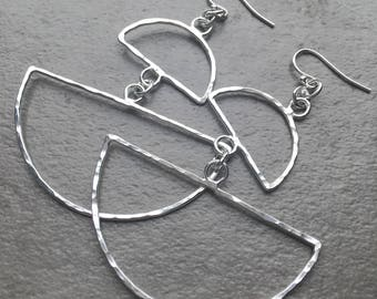 Geometric Statement Earrings - Hand Hammered Sterling Silver Half Circle Dangle Earrings - Big Silver Earrings - Bold Silver Jewelry