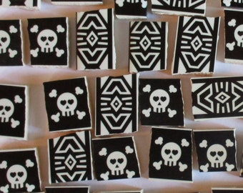 Ceramic Mosaic Tiles - Black And White Skull And Crossbones Tribal Designs Tile - 37 Pieces - For Mosaic Art / Mixed Media Art/Jewelry